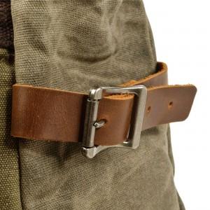 P04 WAX OUTDOOR UNISEX™ Rollrucksack Baumwolle gewachste + Naturleder.. A4 - 3 Farben