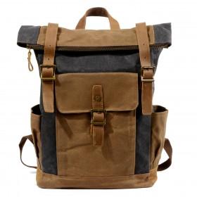 P16 WAX NORDIC™ groß unisex gewachste canvas und leder vintage rucksack. Damen / herren.