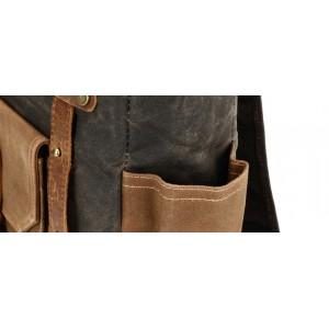 KP5 VINTAGE MARK I™ Gewachstes Canvas und Leder Rucksack. Damen / Herren  - grün
