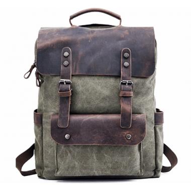 KP6 VINTAGE TAR MAX™ Rucksack Canvas und Leder. Damen / Herren - grün