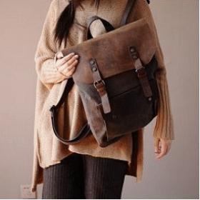 KA3  VINTAGE TAR™  Canvas und Leder  Damen Rucksack auch als Umhängetasche Schultertasche