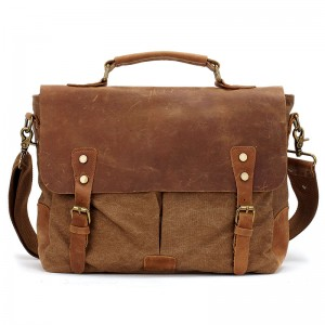 KA26 MESSENGER 1 VINTAGE™ Vintage Canvas Echtleder Aktentashe Laptoptasche