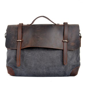 KA17 MESSENGER 2 VINTAGE™ Vintage Canvas Echtleder Aktentashe Laptoptasche