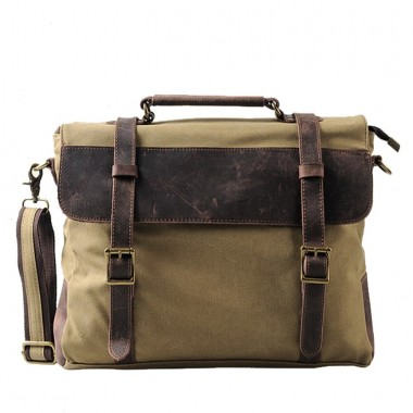 AT3 MESSENGER III VINTAGE™ Canvas - Leder Aktentashe Laptoptasche Arbeitstasche Umhngetasche - Khaki