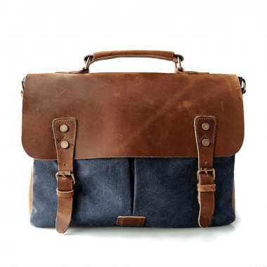 AT1 MESSENGER 1 VINTAGE™ Canvas - Leder Aktentashe Laptoptasche Arbeitstasche Umhängetasche - blau