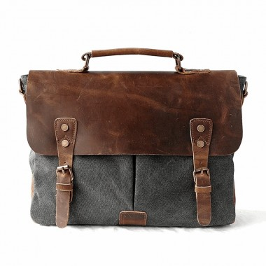 AT1 MESSENGER 1 VINTAGE™ Canvas - Leder Aktentashe Laptoptasche Arbeitstasche Umhängetasche - grey